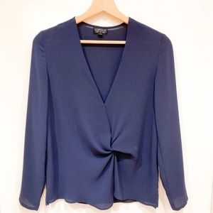 Topshop Tops - Topshop Navy Long-Sleeve Knotted Blouse